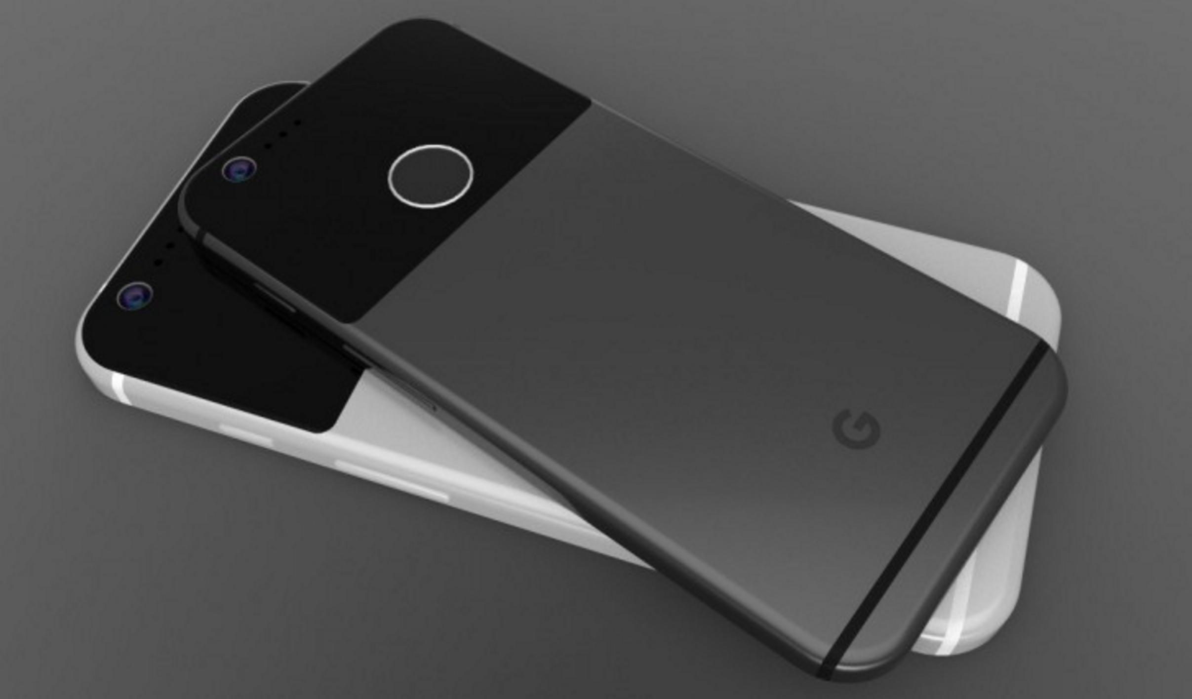 Slik skal en av de nye Pixel-telefonene bli seende ut, ifølge ryktene.
