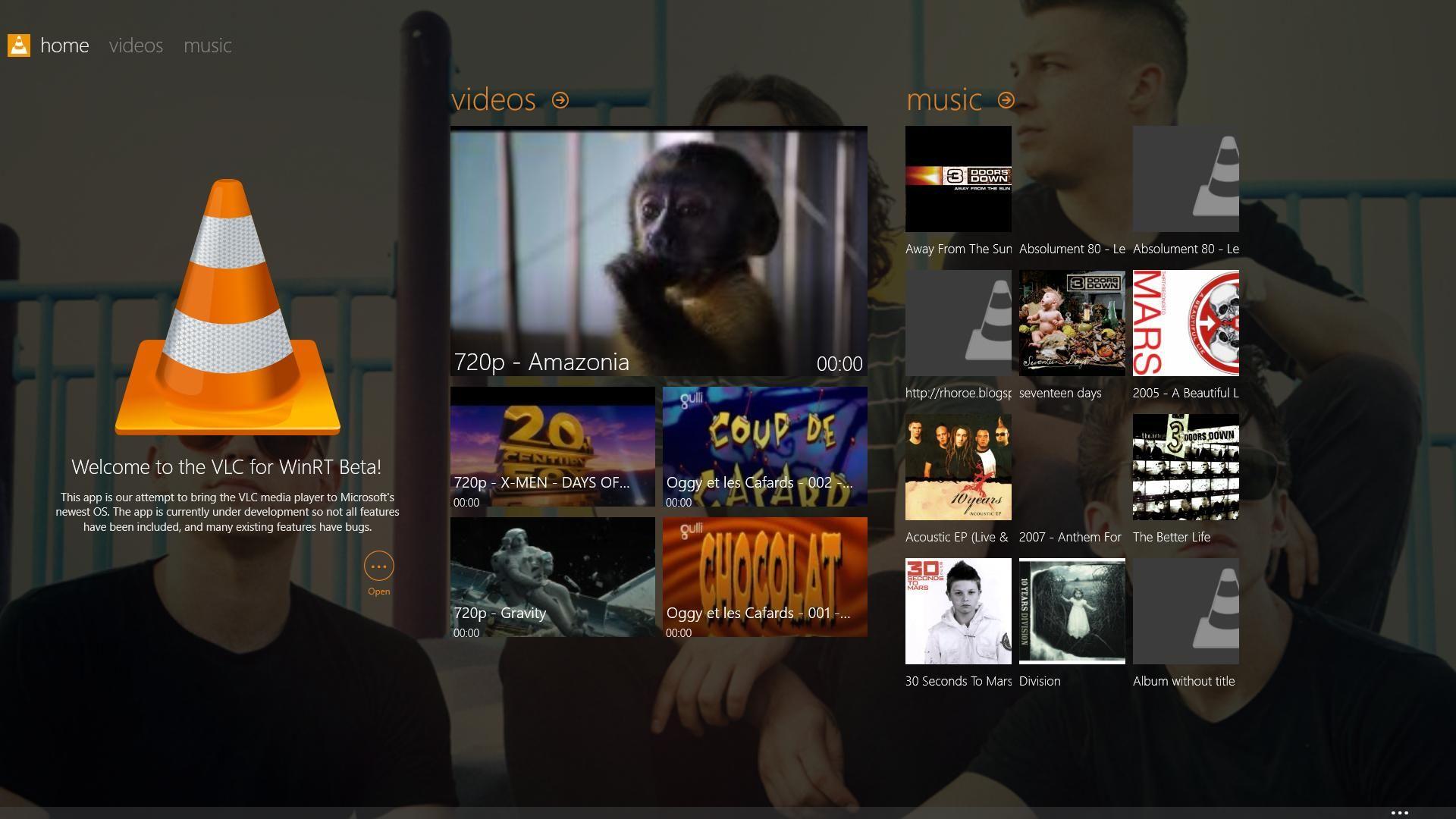 Slik vil touchversjonen av VLC for Windows se ut