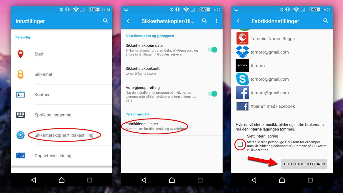 Slik fabrikkinnstiller du Android. Foto: Torstein Norum Bugge, Teknofil.no/Google/montasje