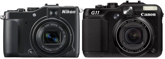 Store likhetstrekk mellom P7000 og Canon G11.