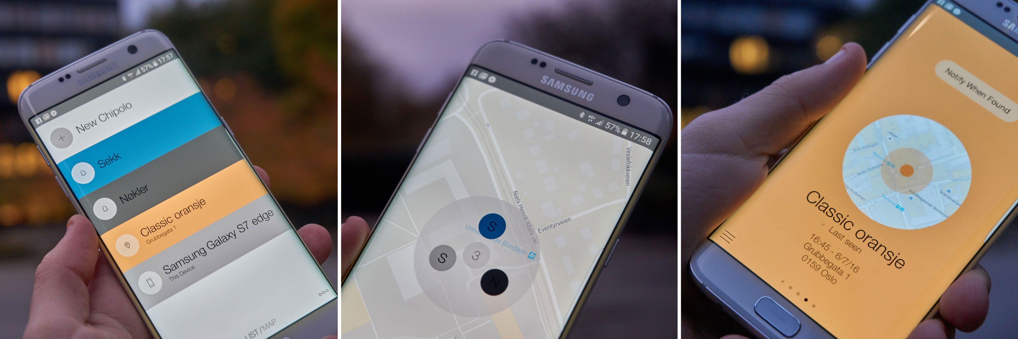 VENSTRE: Oversikten er ryddig og enkel. MIDTEN: Et kart viser deg plasseringen til enhetene dine – inkludert mobilen. HØYRE: Brikker uten kontakt viser en slik skjerm.