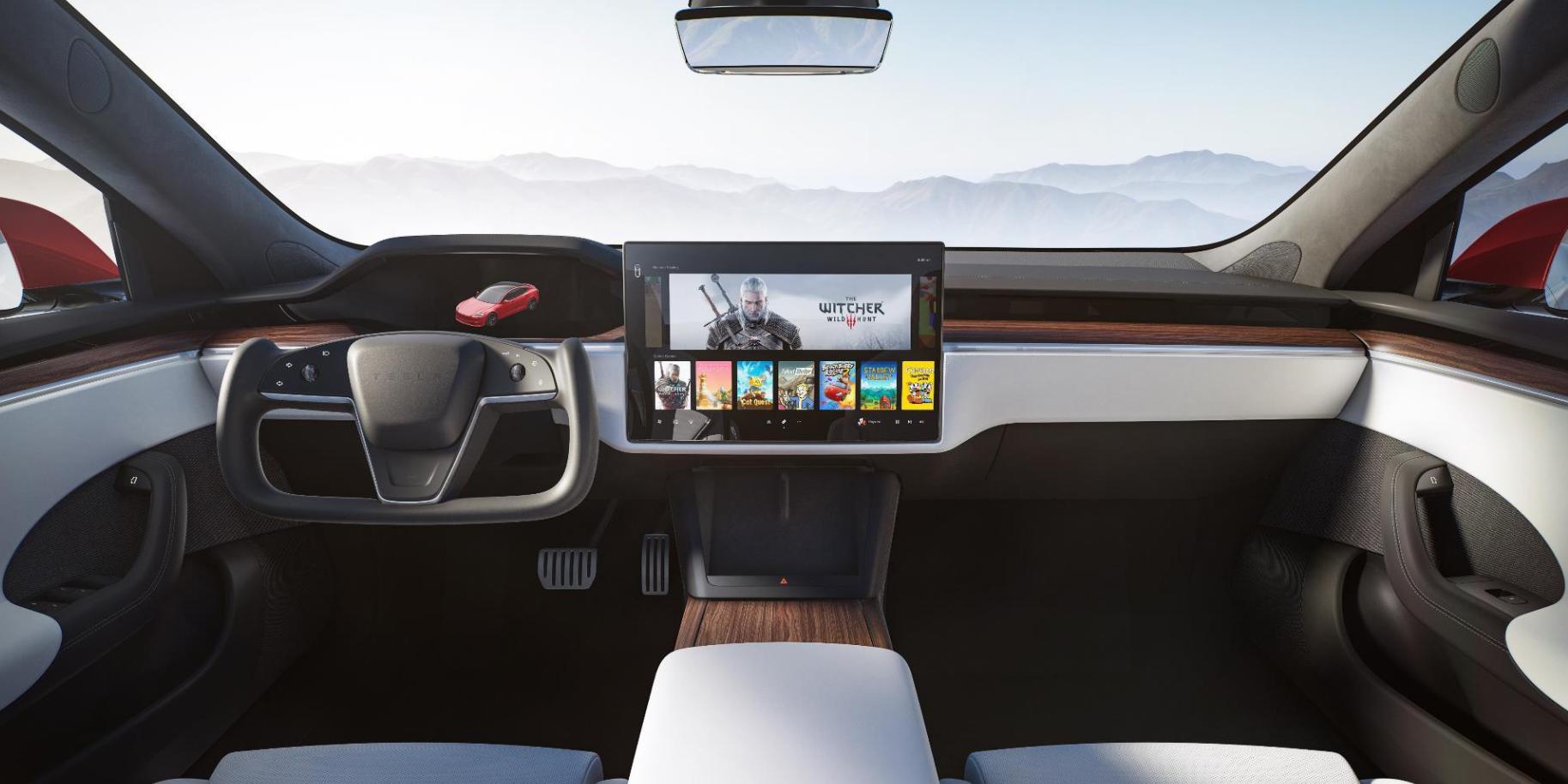 Nye Tesla Model S med styrestikke i stedet for ratt.