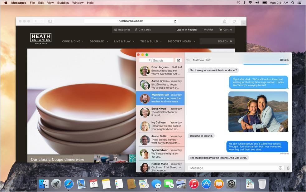 Alle programvinduer har et transparent belegg, som viser et hint av fargen til det som skjuler seg bak.Foto: Apple