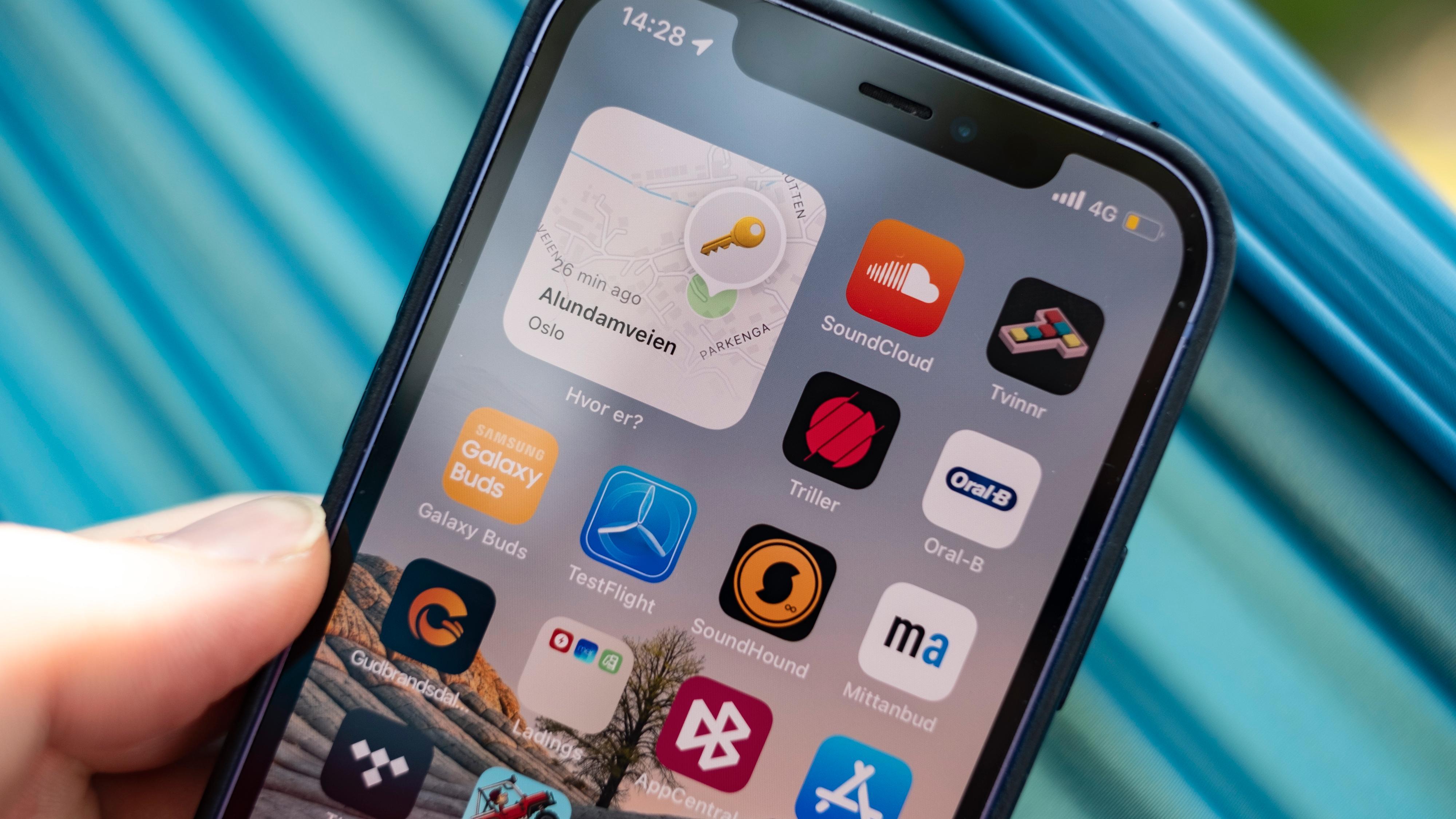 Nye widgeter for flere av Apples egne apper og funksjoner har kommet til. Hvor er-widgeten viser hvor et sett nøkler med AirTags befinner seg rett i appmenyen.