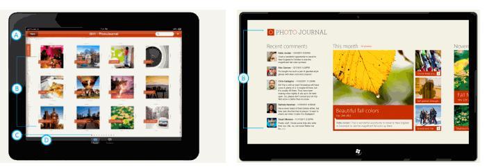 Slik ser Microsoft for seg at en foto-app vil kunne se ut på iPad (til venstre) og et Windows 8-nettbrett.
