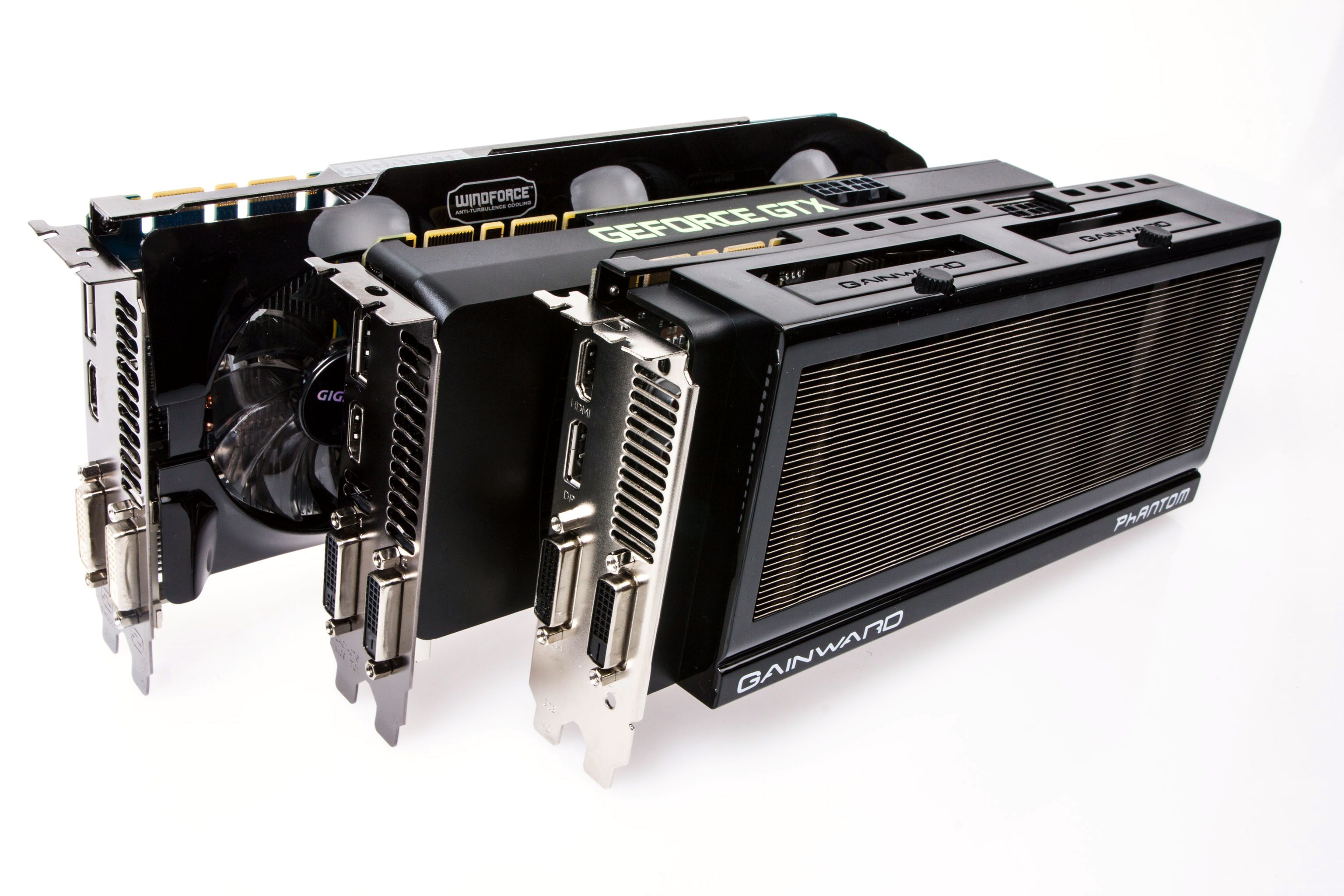 Våre tre GeForce GTX 760-modeller.Foto: Varg Aamo, Hardware.no