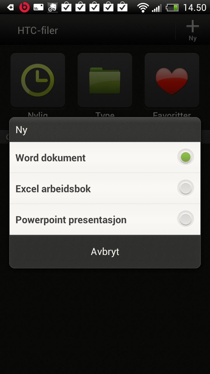 Tekstdokumenter, regneark eller presentasjoner kan opprettes direkte fra telefonen.