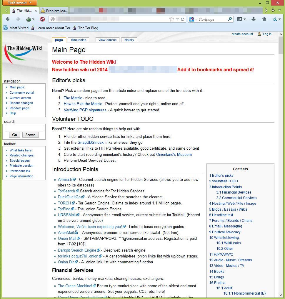 Det vanligste startstedet før du begir deg videre ut på den mørke webben er «The Hidden Wiki».