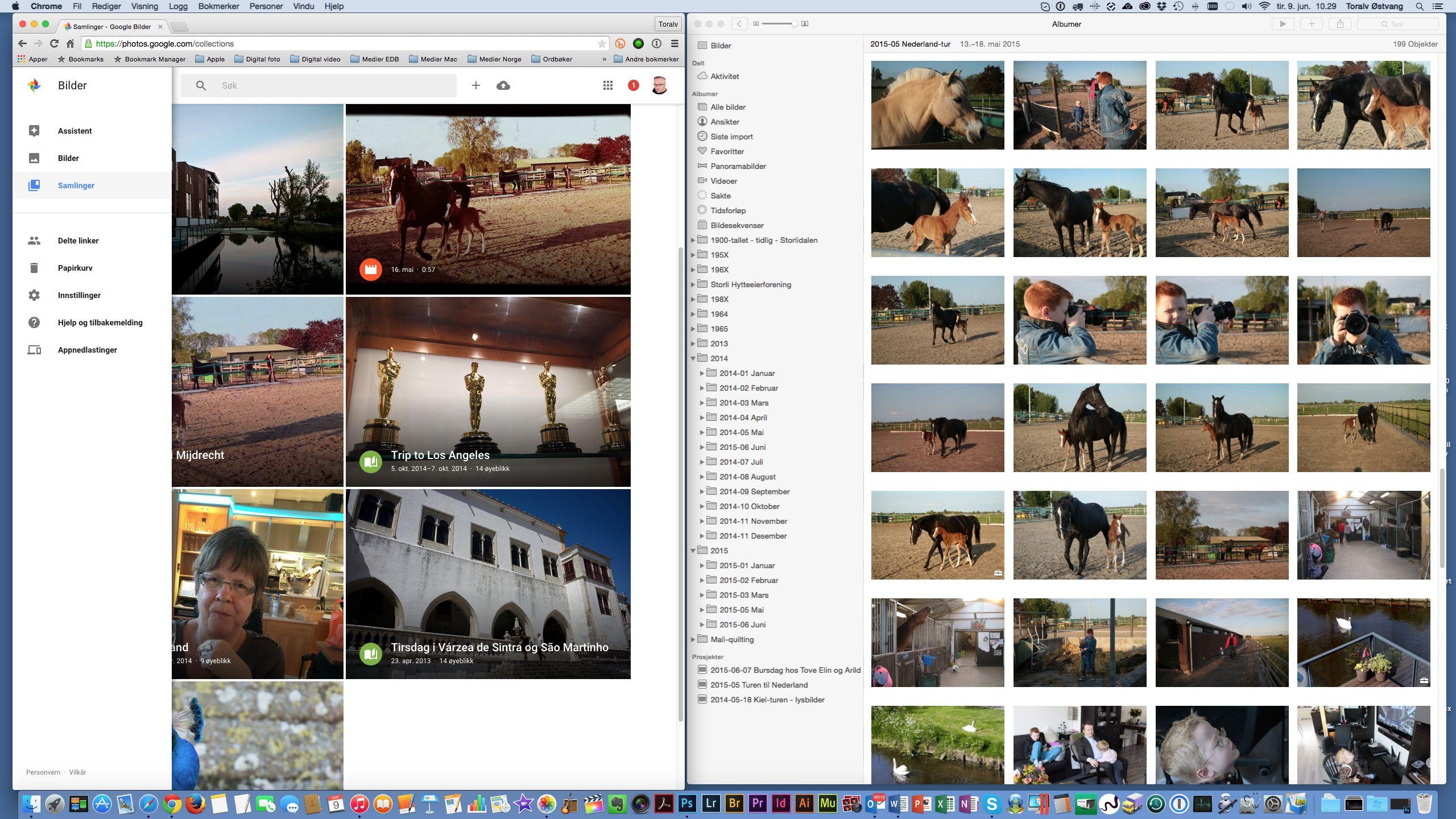 Mye er likt i Bilder fra Google (til venstre) og Apple Bilder. Men det er også en del ulikt under skallet. Slik ser programmene ut når man jobber med dem på en Mac – Google Bilder i en nettleser og Apple Bilder som eget program. Foto: Toralv Østvang