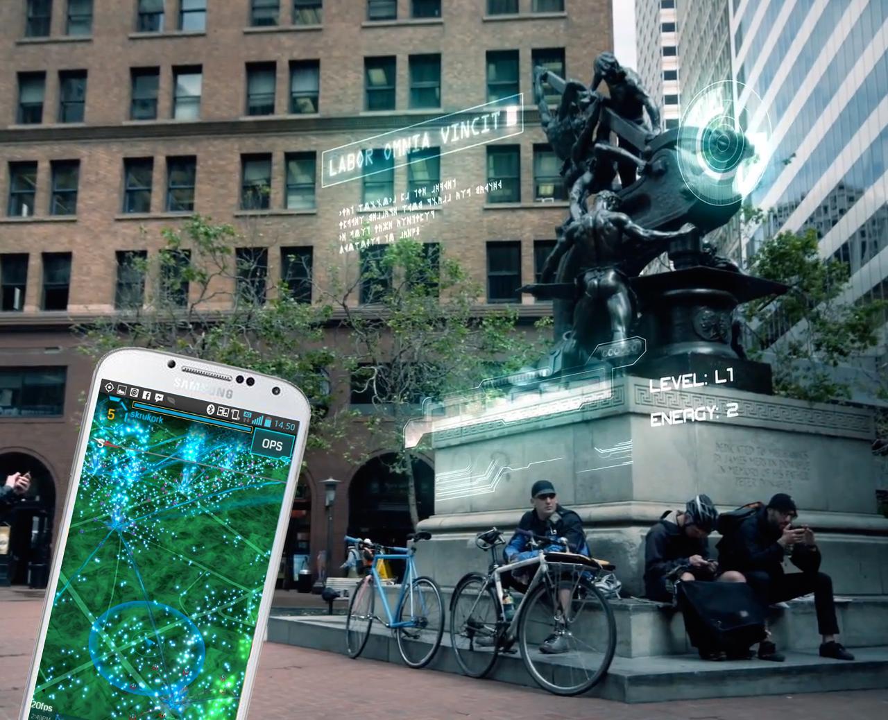 Med spillet Ingress skal du ta kontroll over virtuelle portaler som befinner seg på fysiske steder, og linke dem sammen for å kontrollere landområder.Foto: Google / Niantic Labs