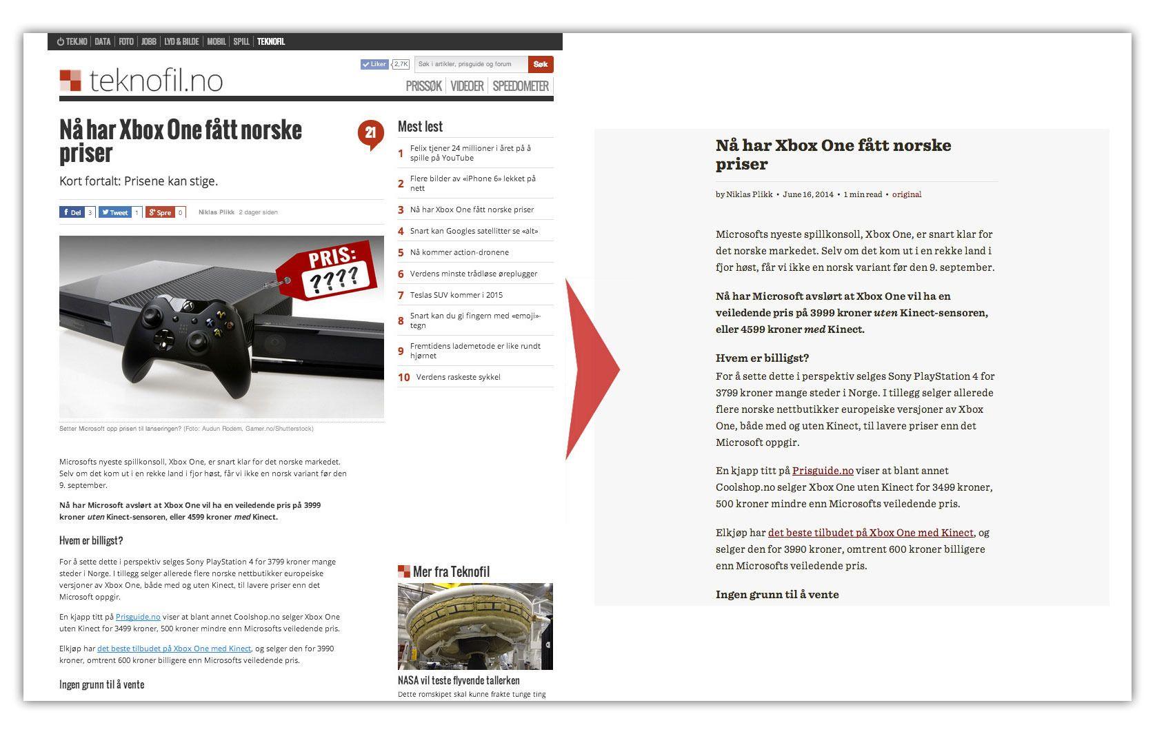 Det finnes nettlesertillegg som fjerner alt av bilder og distraherende elementer fra nettsider. Slik ser en Teknofil-artikkel ut med Readability aktivert.Foto: Teknofil.no