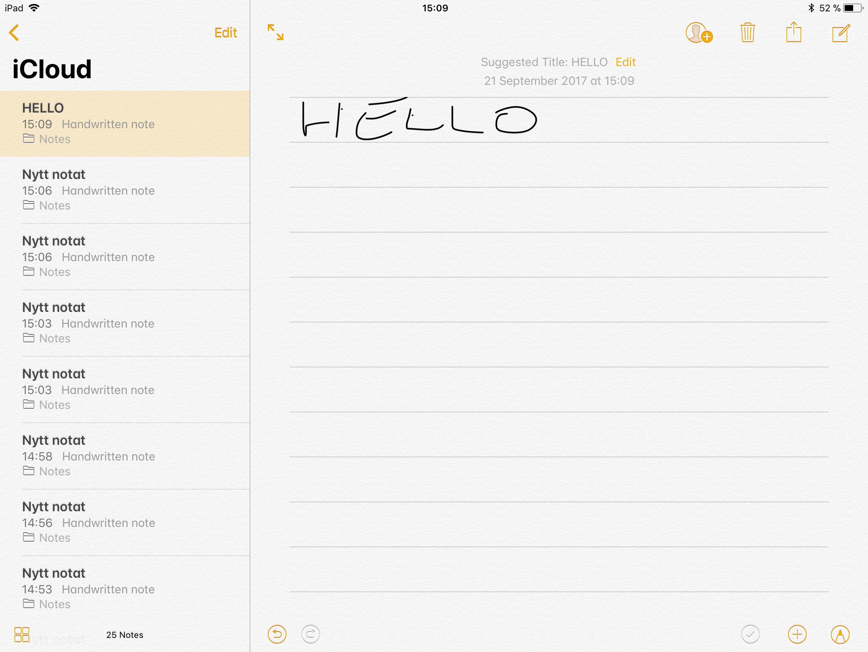iOS 11 kan gjøre håndskriftsgjenkjenning og gjøre notatene dine søkbare. Men det virker foreløpig ikke på norsk.