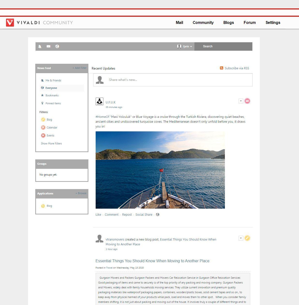 Vivaldi Community er et slags sosialt nettverk for nettleseren. Et liknende nettverk var tidligere tilgjengelig for Opera-brukerne. Foto: Skjermdump, Finn Jarle Kvalheim, Tek.no