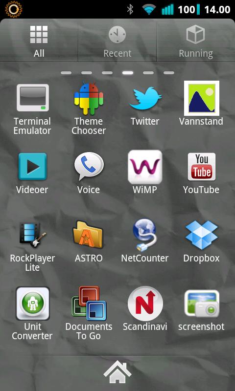 Dette er GO Launcher - en av de mye brukte.
