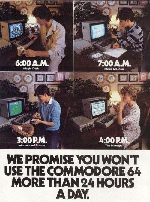 Her burde egentlig alarmen ha gått hos de som mener vi bruker for mye tid foran dataskjermen i dag. Foto: Commodore