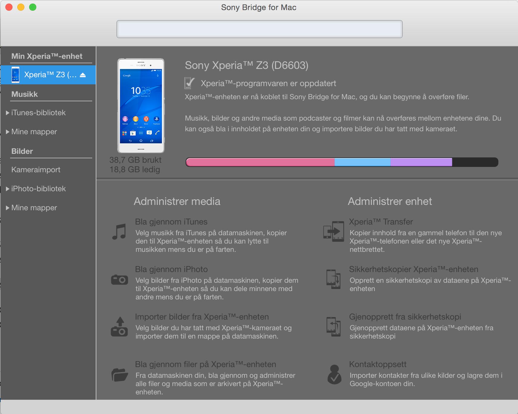 Sony har laget en egen Sony Bridge for Mac, som gjør det enkelt å sikkerhetskopiere data. Foto: Skjermdump fra Sony Bridge for Mac