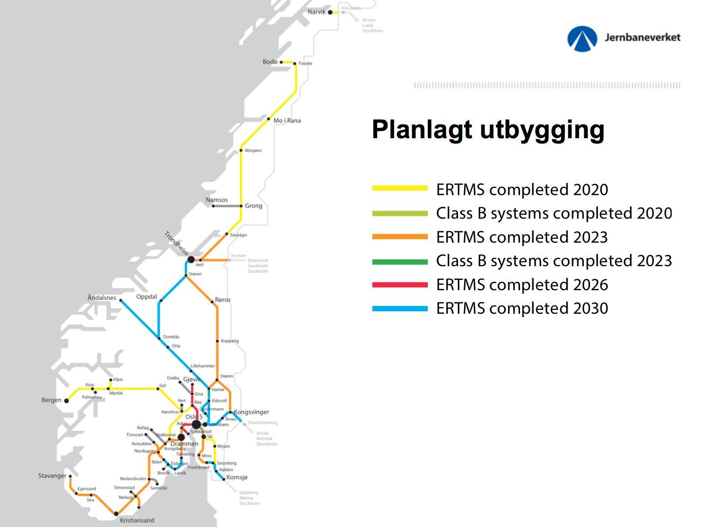 Utrullingsplanen for ERTMS.Foto: Jernbaneverket