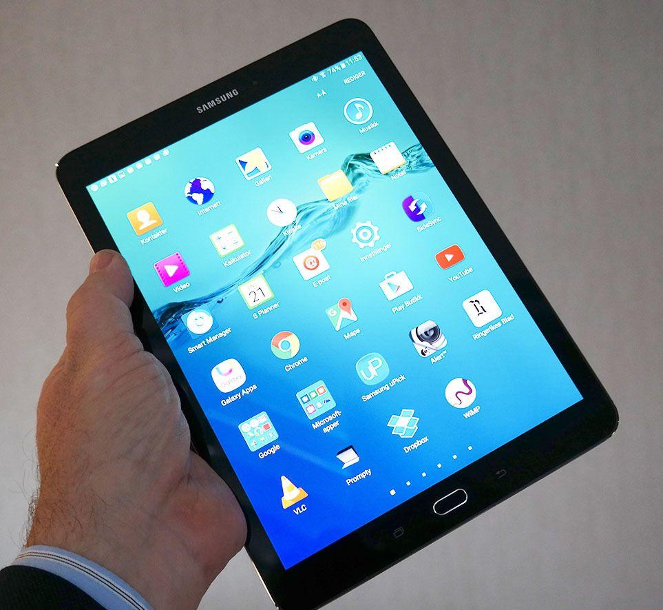 Samsung Galaxy Tab S2 har samme form som iPad. Foto: Espen Irwing Swang, Tek.no