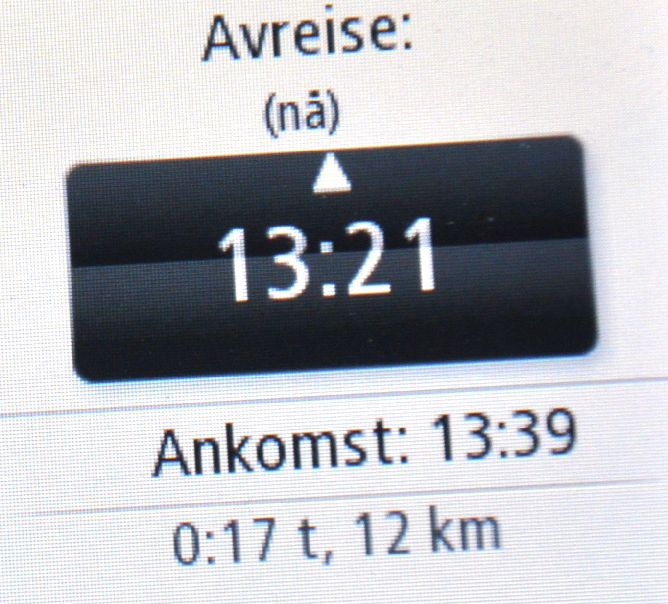 Du kan velge når du vil komme fram, og GPS-en forteller deg når du må kjøre for å rekke det.
