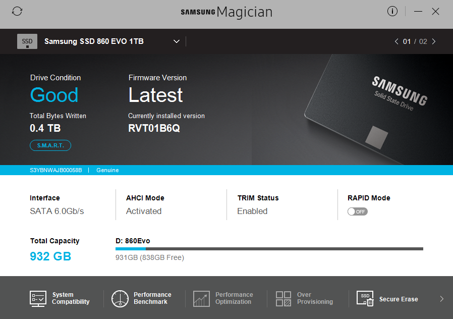 Samsung Magician lar deg sjekke diskens status.