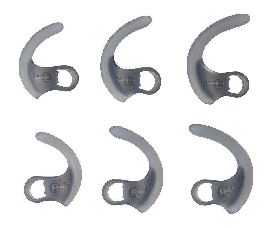Det følger med bøyler i tre størrelser, slik at proppene skal sitte godt når du trener – uansett hvordan ørene dine ser ut.