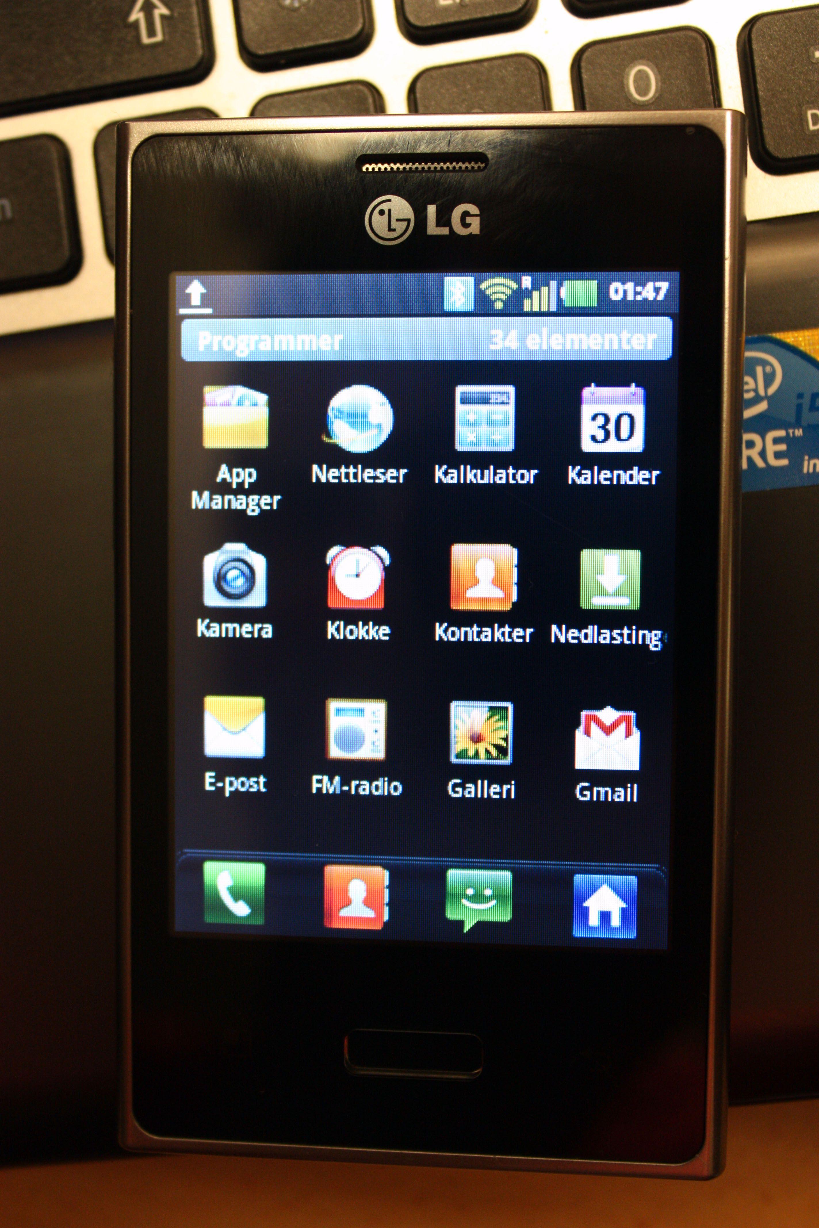 Menysystemet er ganske likt det vi ser mange av dagens Android-telefoner.
