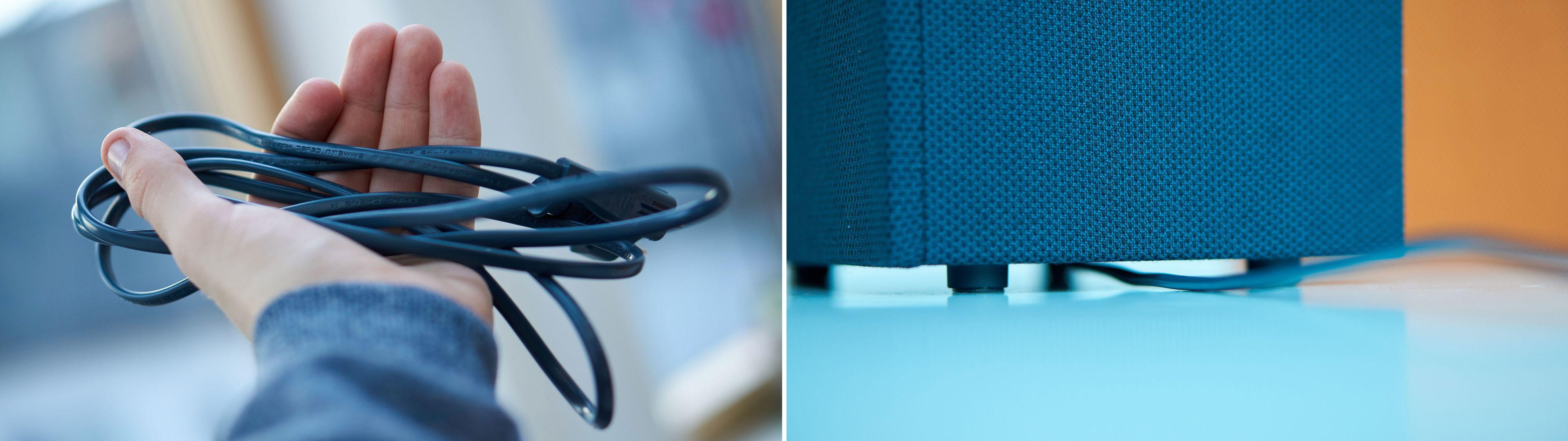Kabelen rutes fint fra undersiden av høyttaleren, men er litt i korteste laget.