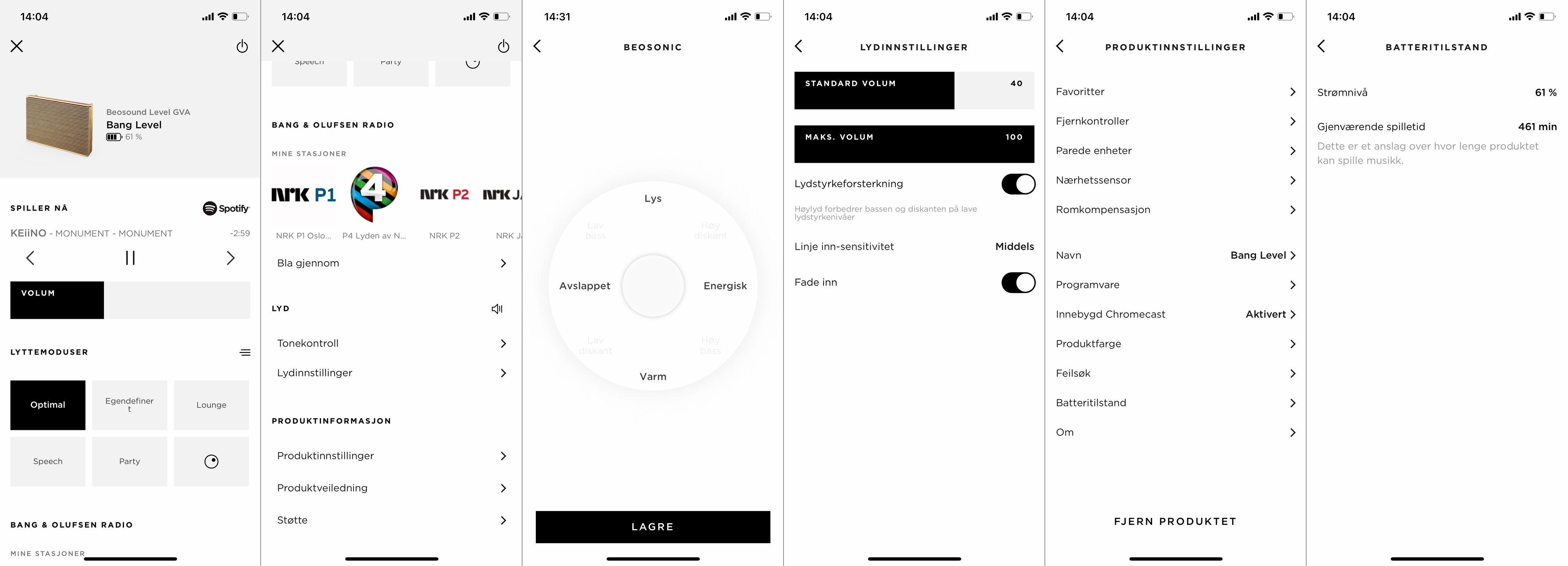 Bang & Olufsen-appen inneholder selskapets sedvanlige grafiske equalizer, hvor du flytter et punkt rundt i en matrise for å endre på lyden. Appen har også en standard pluss- og minus-skyvebryter for bass og diskant, skulle du heller ville bruke den.