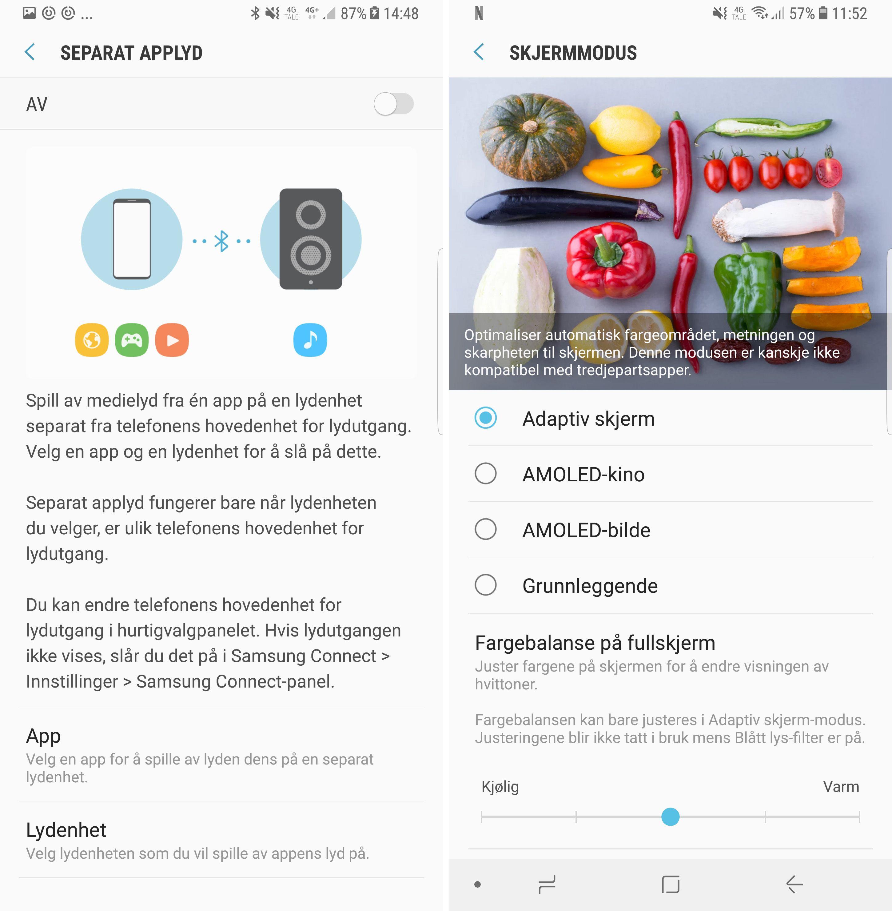 Det er en rekke innstillingsmuligheter i Note 8 som gjør den til en prima underholder. Du kan for eksempel spille av to ulike lydstrømmer samtidig, eller du kan stille skjermen akkurat slik du ønsker den. Mulighet til å kjøre to samtidige Bluetooth-lydstrømmer er det også her.
