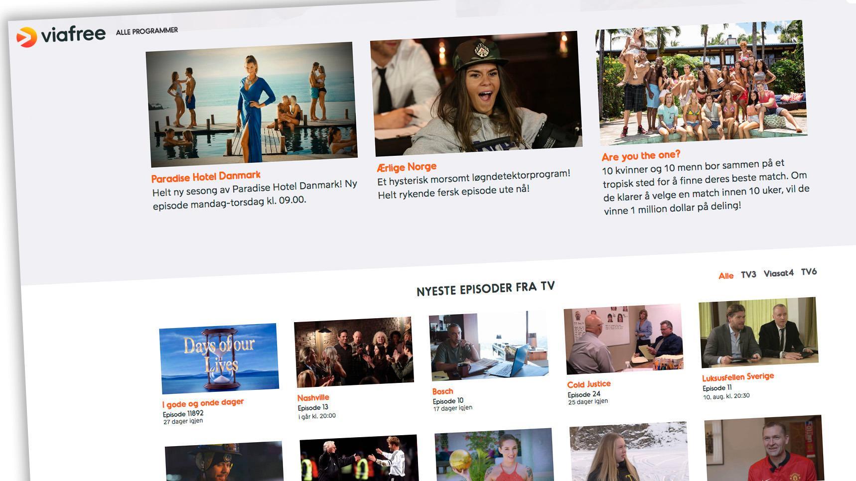 Viafree tilbyr hundrevis av TV-serier, helt gratis