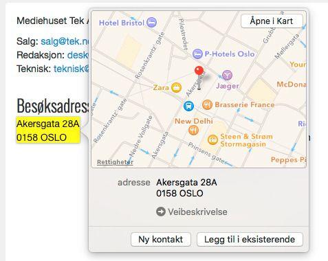 Trykk hardt på en adresse for å vise kart.