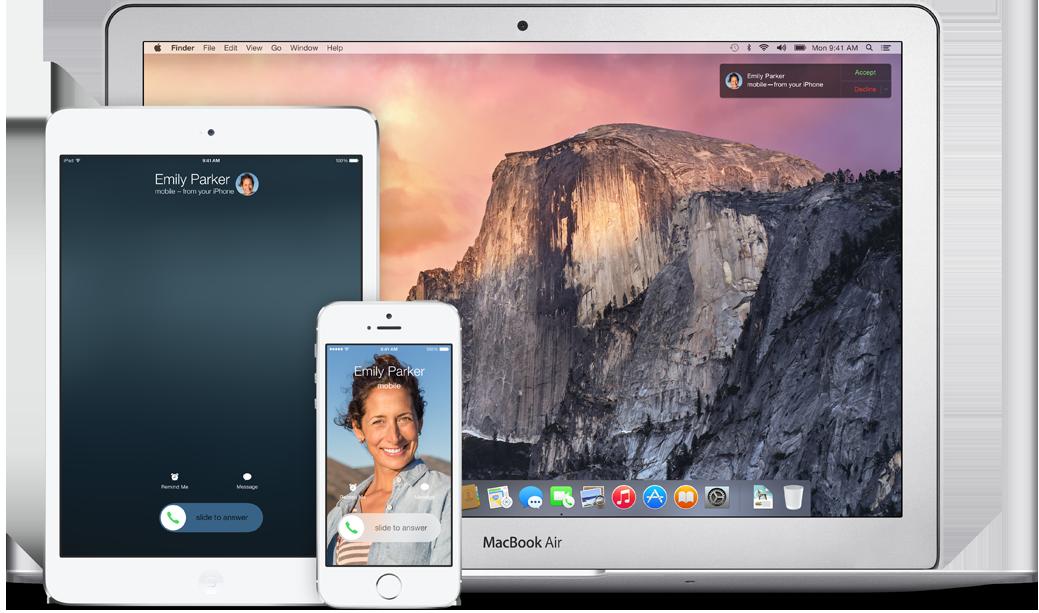 Apple har døpt verktøykassen som gir deg ringing og SMS på tvers av dingsene dine for Continuity. Fra høsten av kan du altså ringe fra både en MacBook og en iPad.Foto: Apple