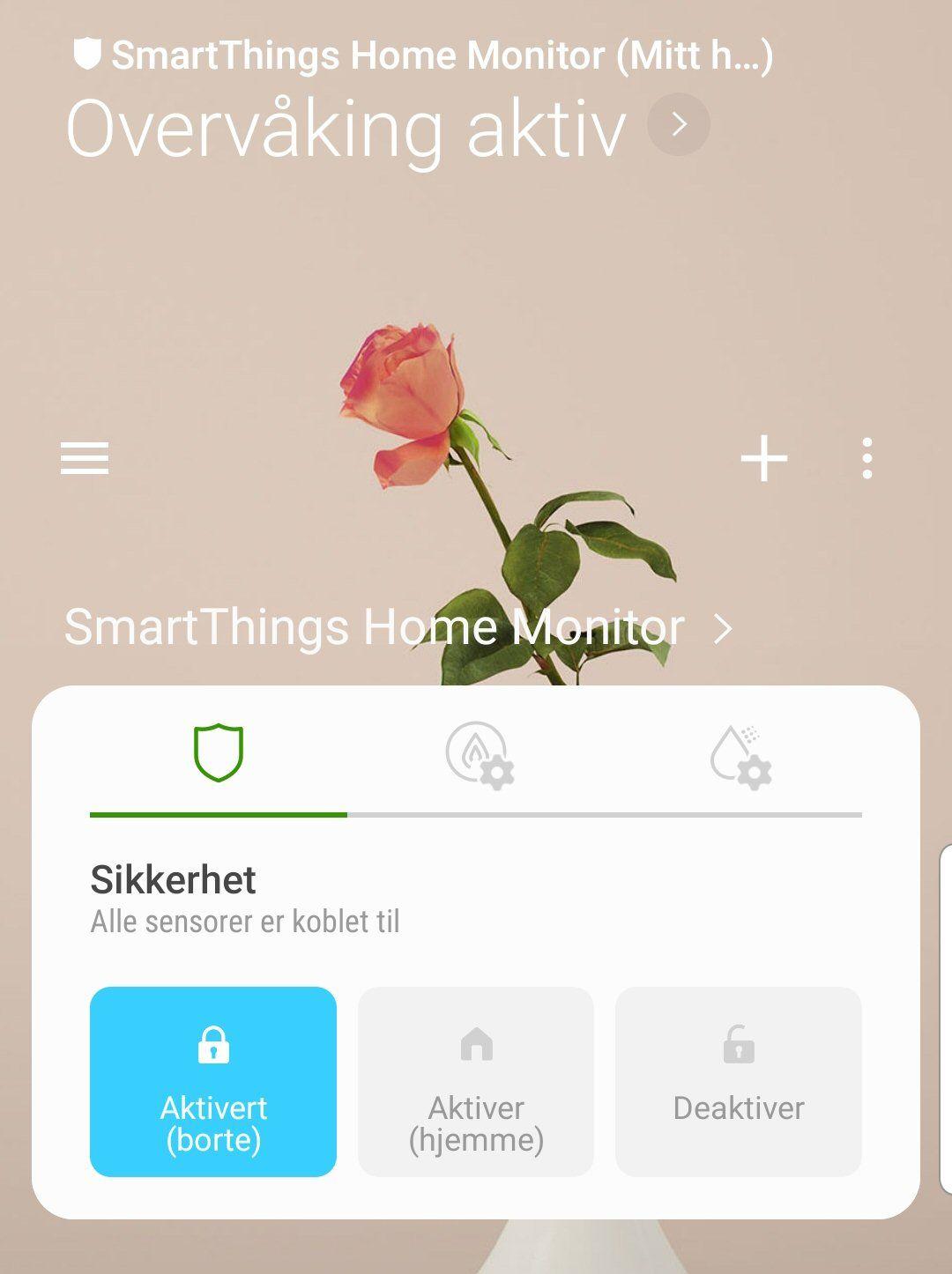 SmartThings-appen har også en innebygd sikkerhetsdel. Dette kan fint settes opp manuelt, men det er kjappere å bruke «SmartThings Home Monitor».
