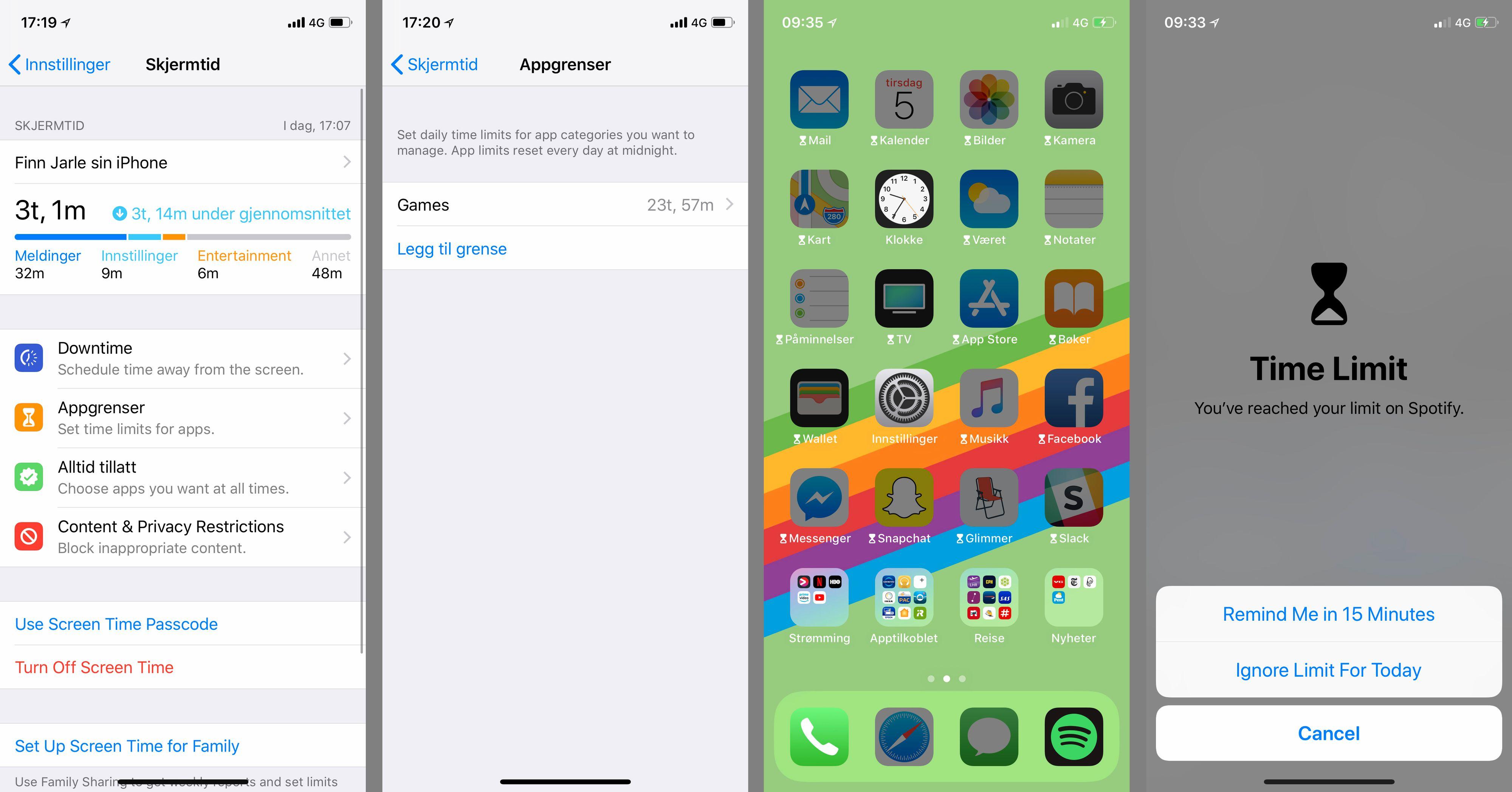 Mobilen kan være en tidstyv, men med de nye funksjonene i iOS 12 får du lett oversikt. Det kan for eksempel være greit å begrense spillaktivitet litt mer enn det jeg har gjort i dette eksempelet. Du kan uansett overstyre funksjonen ved behov. Legg merke til språkmiksen, som er et tydelig tegn på at denne programvaren ikke er helt ferdig ennå.