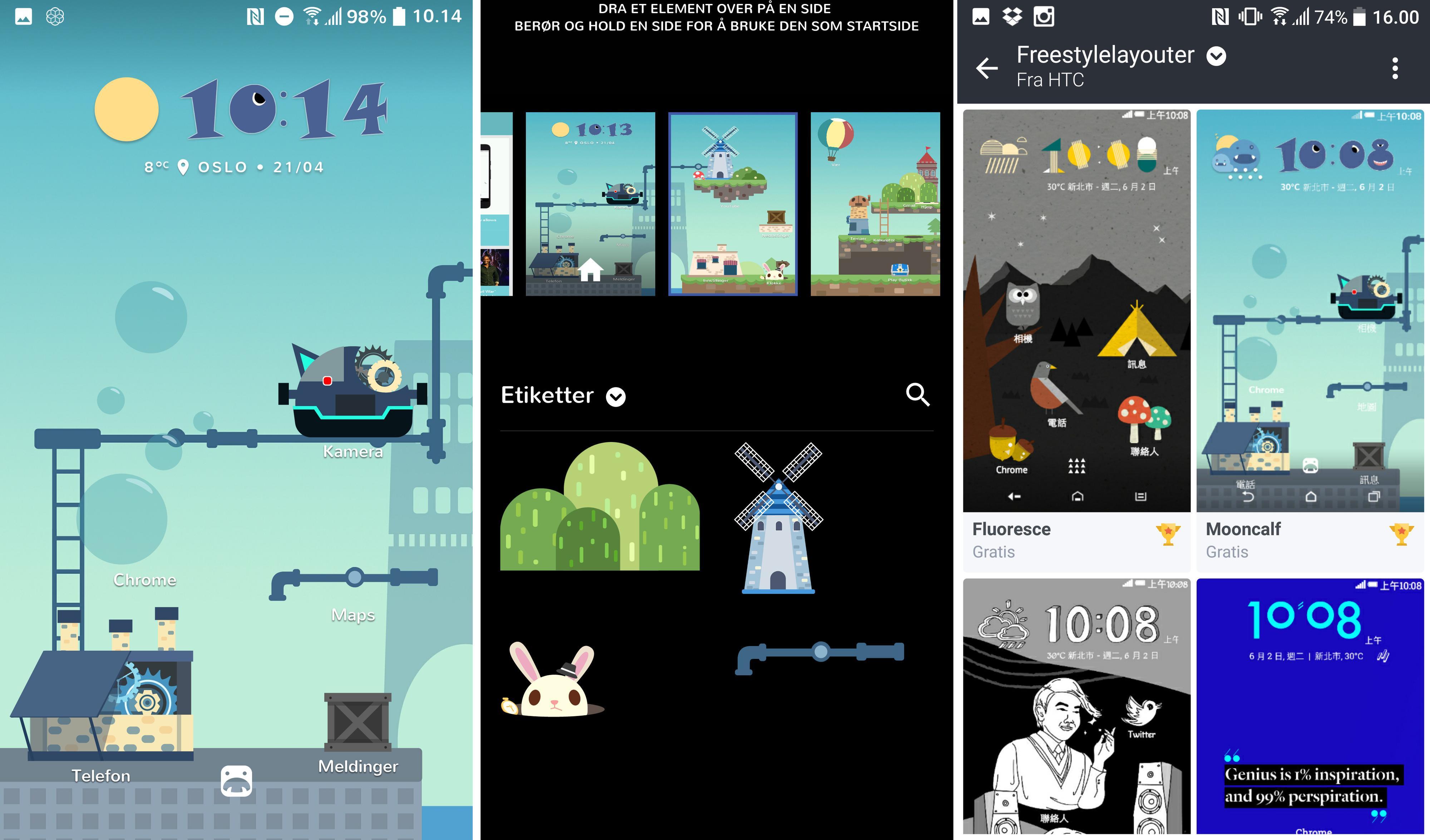 Med Freestyle-temaer erstattes app-ikonene med etiketter, som kan plasseres fritt på skjermen.