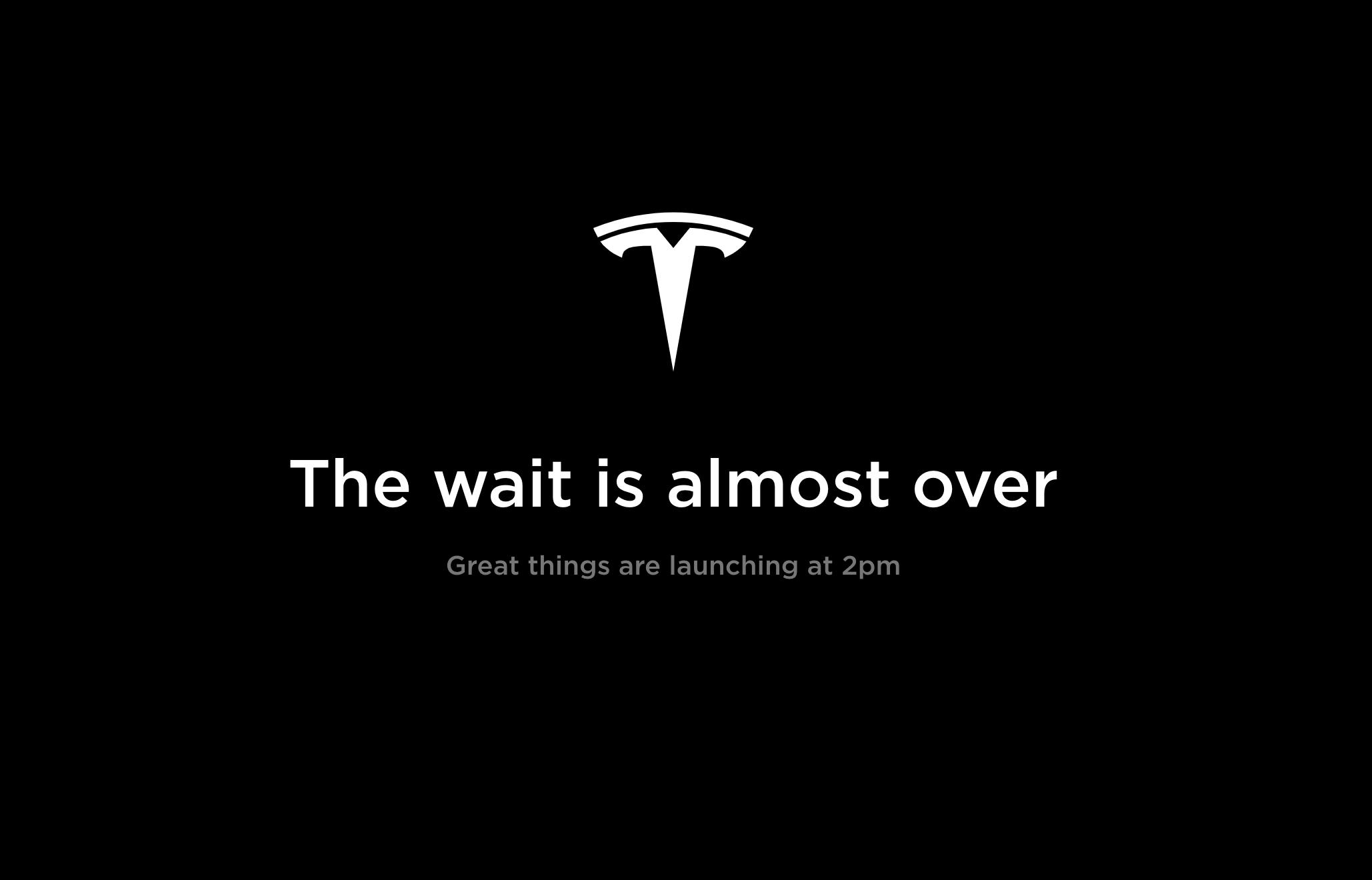 Slik har Teslas nettsider sett ut i dag om du har forsøkt å konfigurere en bil.