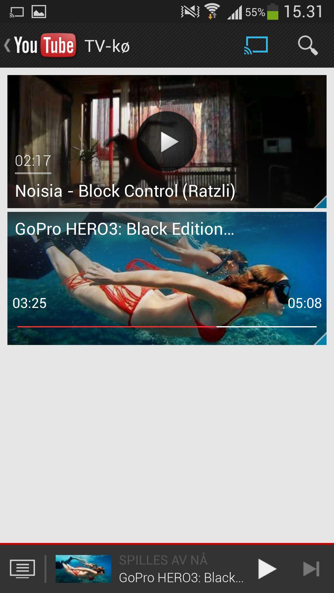 Youtube-appen har en egen spillelistefunksjon der du kan legge til videoer Chromecast skal spille.