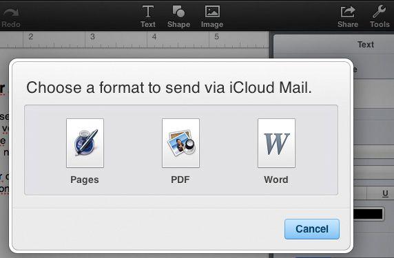 Trykk «Share«-knappen øverst til høyre i Pages, Numbers eller Keynote for å sende dokumentet på e-post. Dokumentet kan automatisk konverteres til et annet format.
