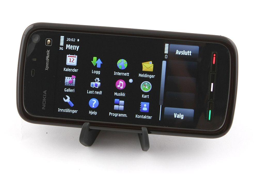 Menyen og de fleste andre funksjonene i telefonen kan vises i liggende modus.