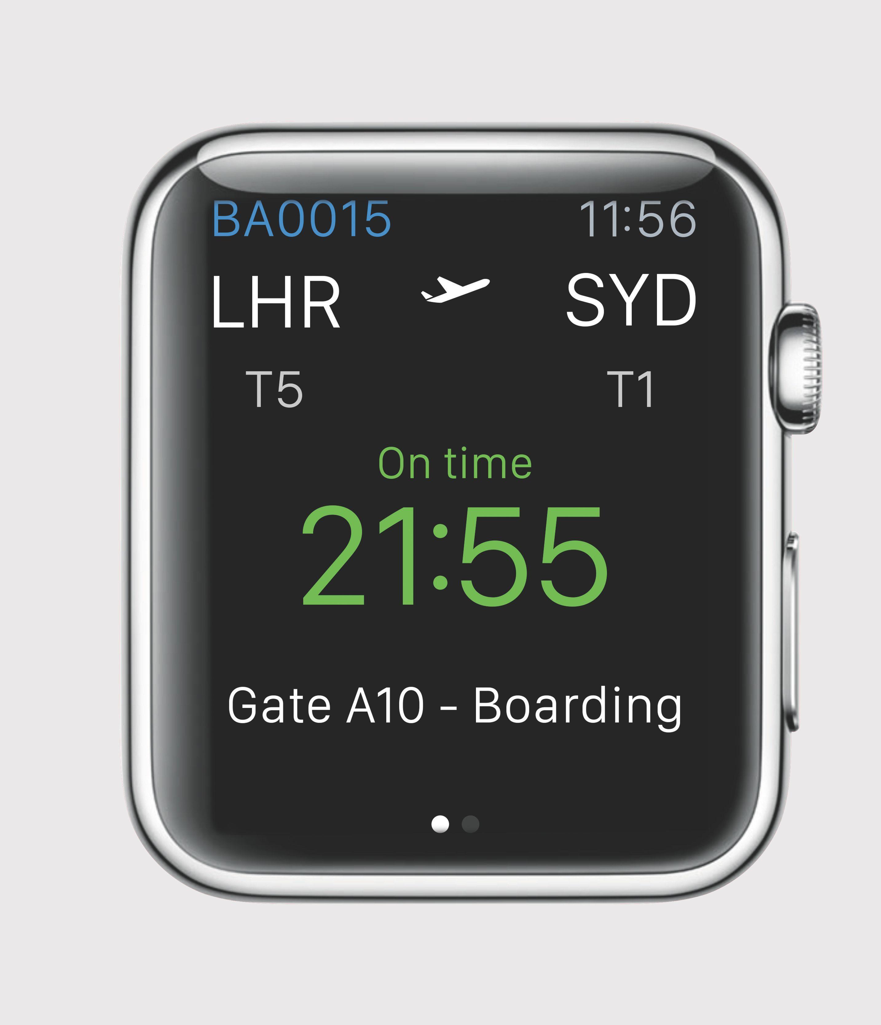 Overblikk-skjermen når British Airways-appen er installert.