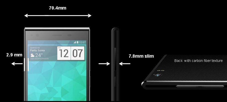 Slik presenterer ZTE telefonen Blade Vec 4G. Høyden er 142,3 mm.