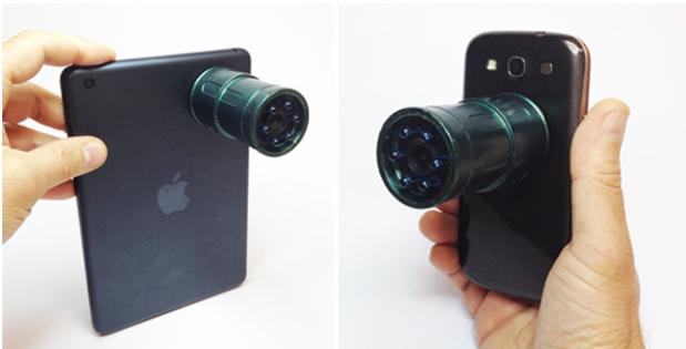 Snooperscope kan brukes med nettbrett og mobil, men trenger ikka å være festet til enheten som kontrollerer den.Foto: Snooperscoop