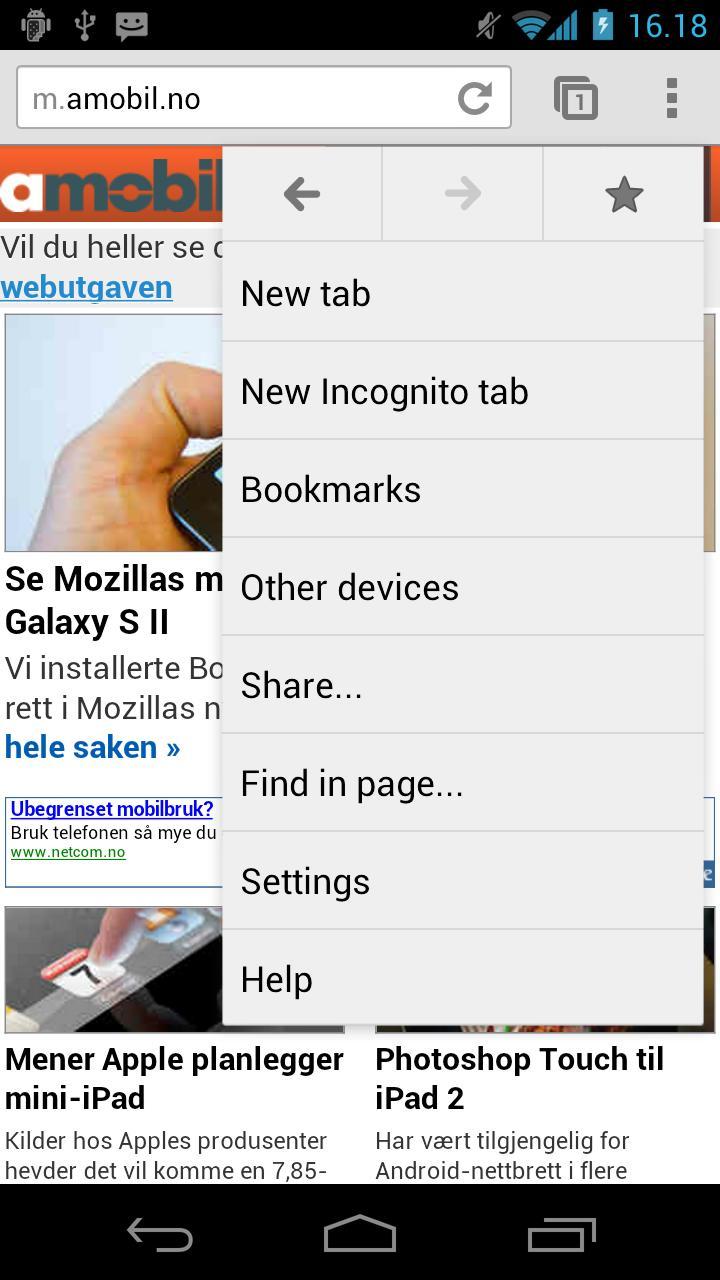 """Google Chrome for Android lar deg opprette """"private faner""""."""