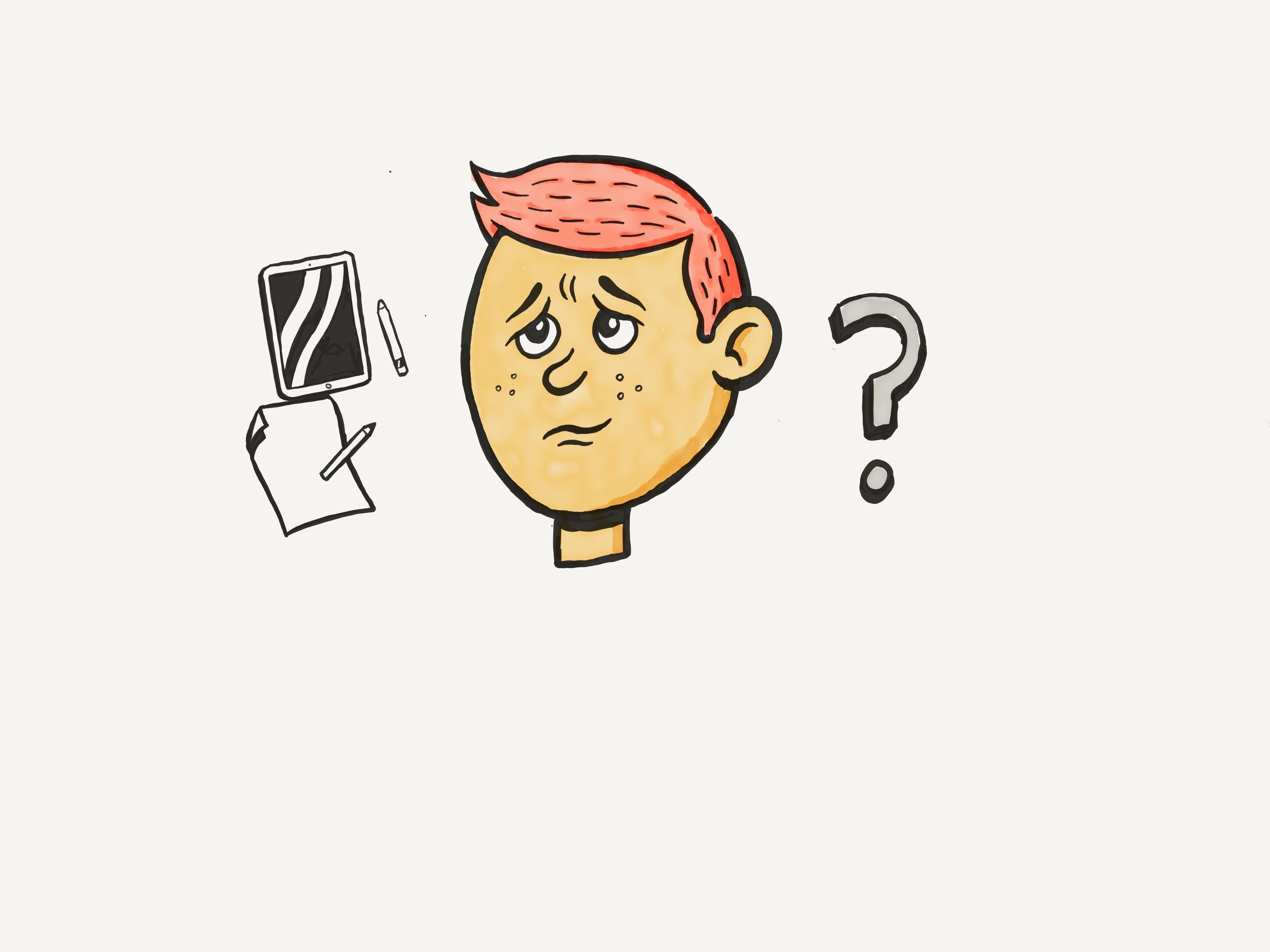 Papir eller nettbrett? Slik ble resultatet da vi fikk besøk av en tegner. Foto: Simen Røyseland