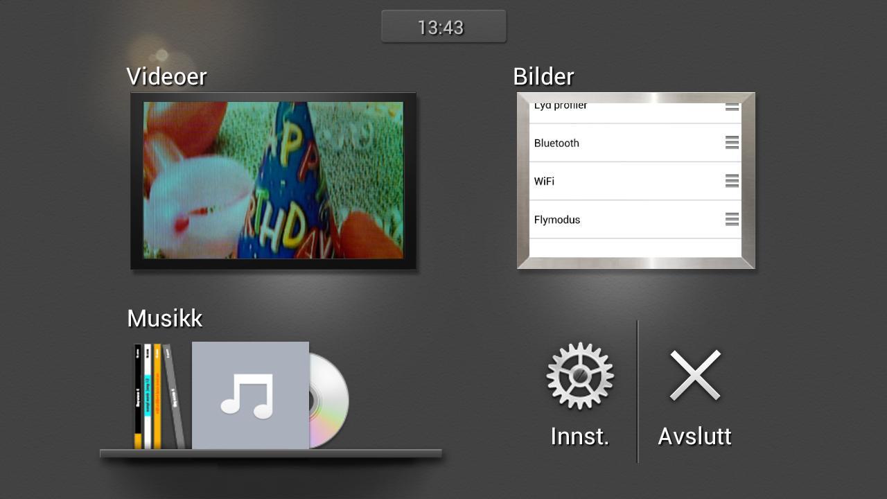 Slik ser grensesnittet for underholding ut om du kobler telefonen til en TV.