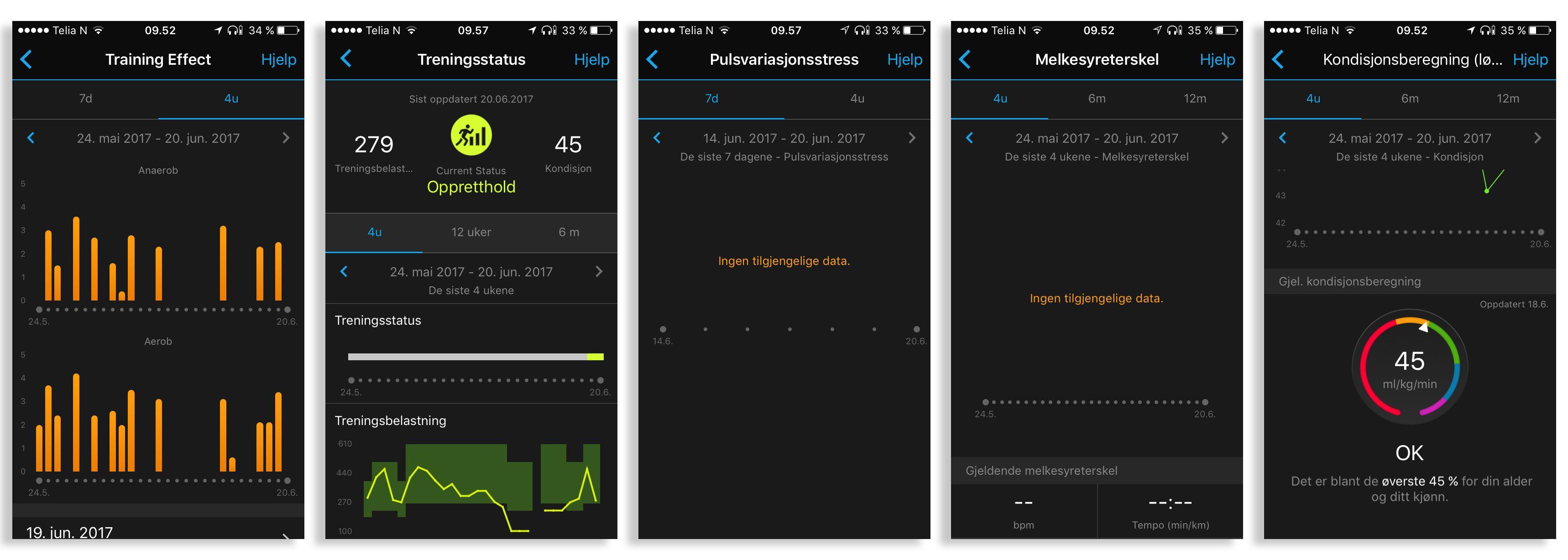 Appen og nettjenesten Garmin Connect gir oss en del data som gjør at vi kan følge med på treningsresultater over tid.