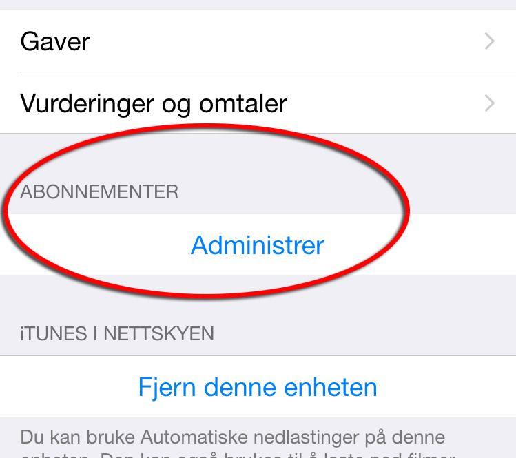 Finn «Abonnementer» i listen.
