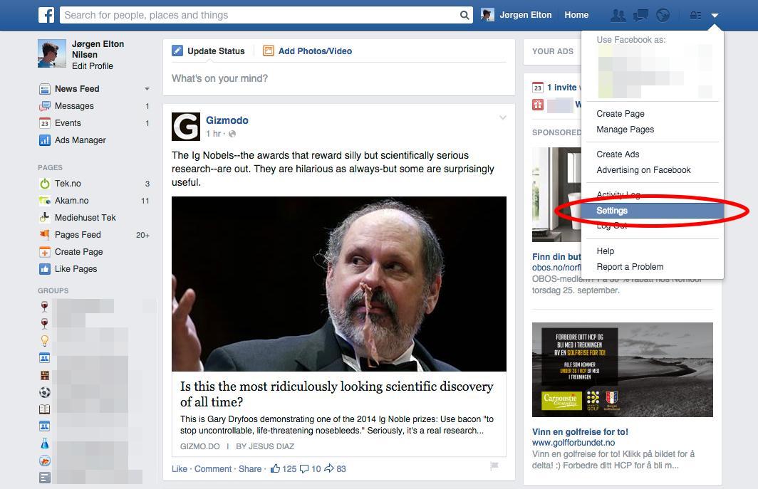 Facebook - steg 1.Foto: Tek.no