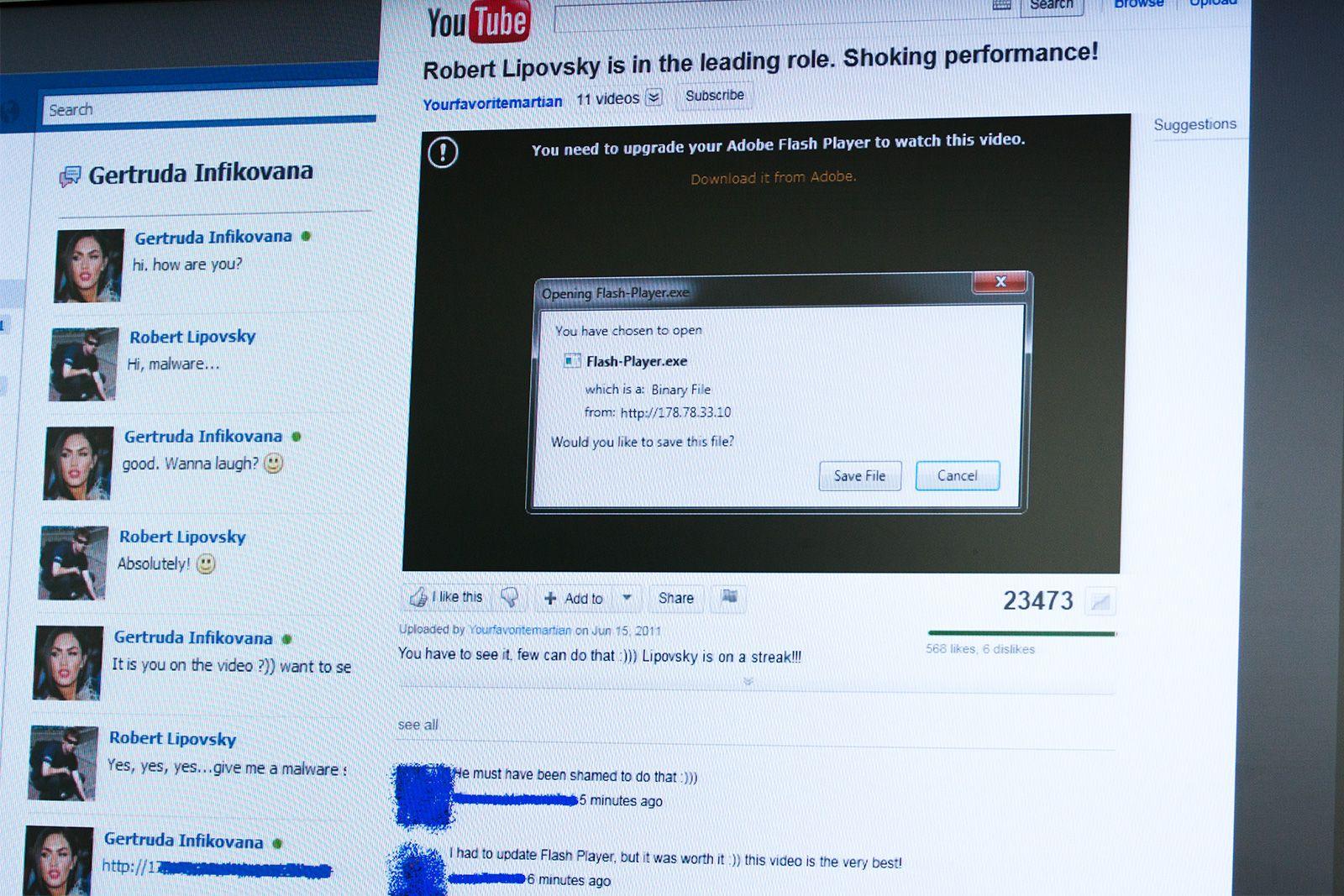 Først fører skurkene en samtale med deg på Facebook, før du sendes inn på «YouTube» – hvor alle er sjokkerte over hva «du» gjør i videoen.Foto: Varg Aamo, hardware.no