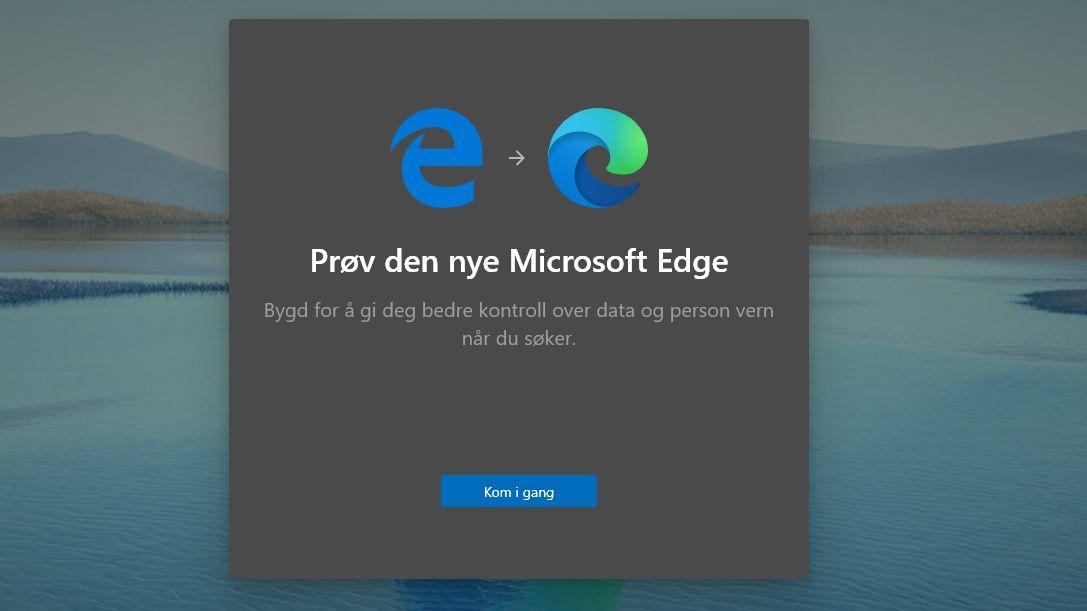 Om du har Edge-ikonet til venstre betyr det at du ikke har fått den nye Edge-nettleseren ennå.